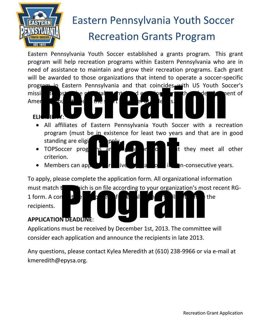2013 Recreation Grant Application pdf image