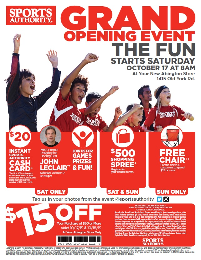 Sports Authority Grand opening flier